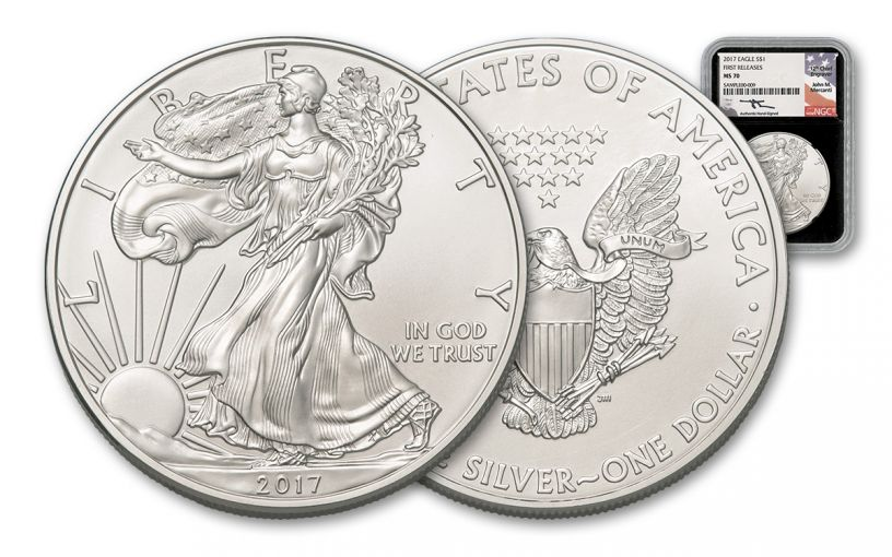 2017 1 Dollar 1-oz Silver Eagle NGC MS70 First Releases Mercanti Signed - Black
