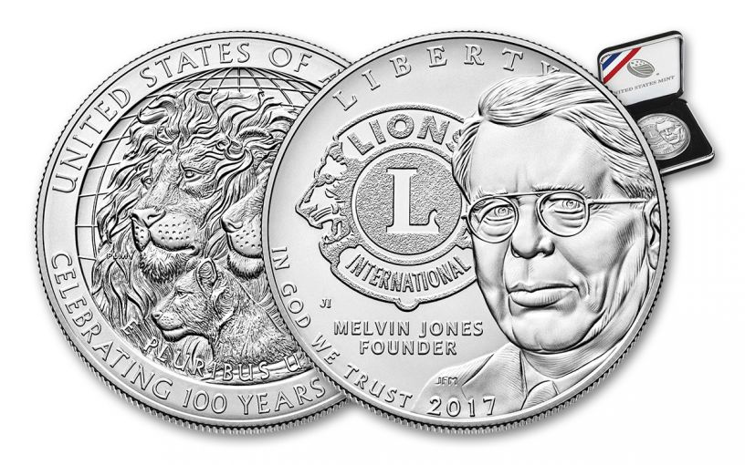 2017 1 Dollar Silver Lions Club Commemorative BU