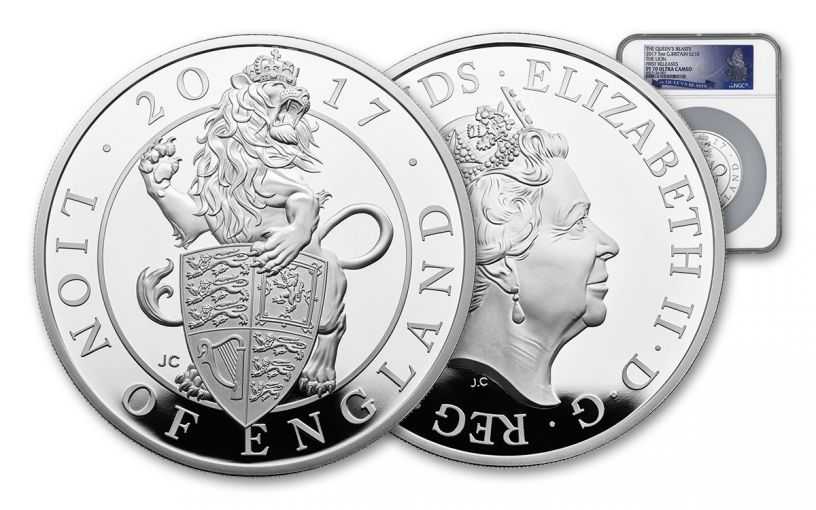 2017 Great Britain 10 Pound 5-oz Silver Queen's Beasts The Lion NGC PF70UCAM First Releases