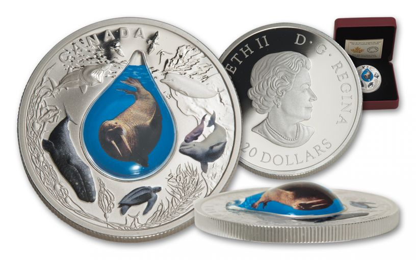 2017 Canada 20 Dollar 1-oz Silver Underwater Life 3D Proof