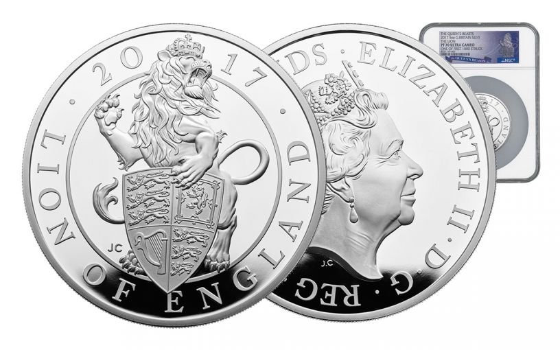 2017 Great Britain 10 Pound 5-oz Silver Queen's Beasts The Lion NGC PF70UCAM First Struck