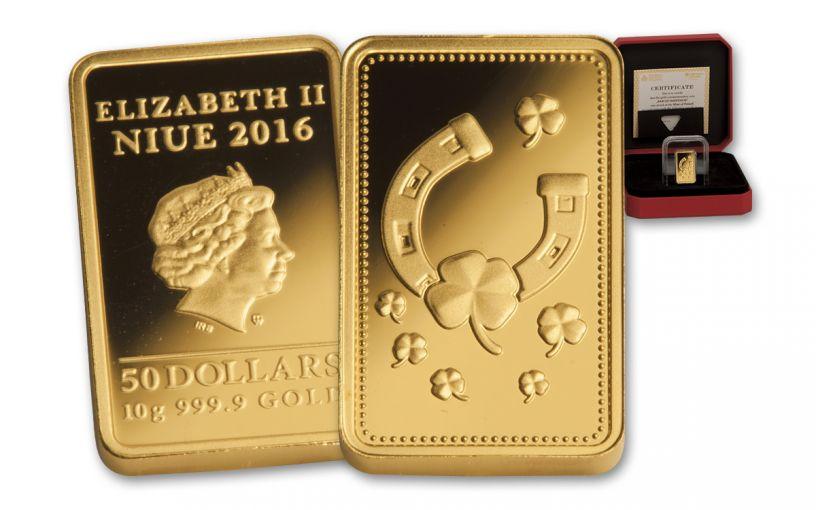 NIUE 2016 $50 10 GRAM GOLD INGOT OF HAPPINESS PF