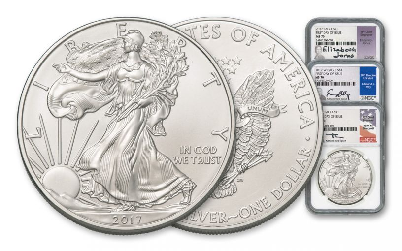 2017 1 Dollar 1-oz Silver Eagle NGC MS70 FDI Mercanti Jones & Moy Signed 3-Pc Set