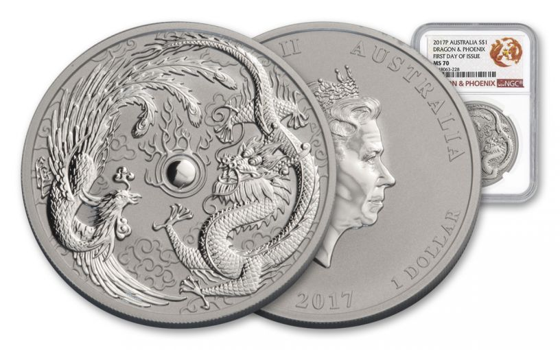 2017 Australia 1 Dollar 1-oz Silver Dragon & Phoenix NGC MS70 First Day Of Issue