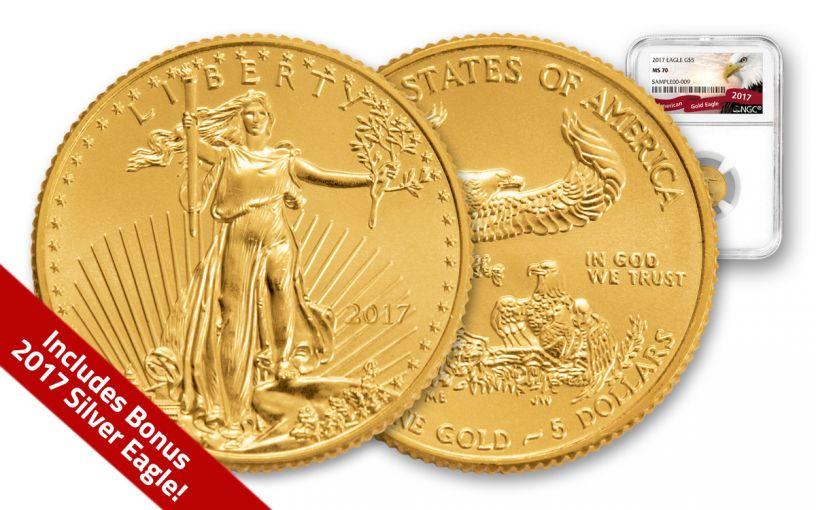 2017 5 Dollar 1/10-oz Gold Eagle NGC MS70 With Bonus 2017 Silver Eagle BU
