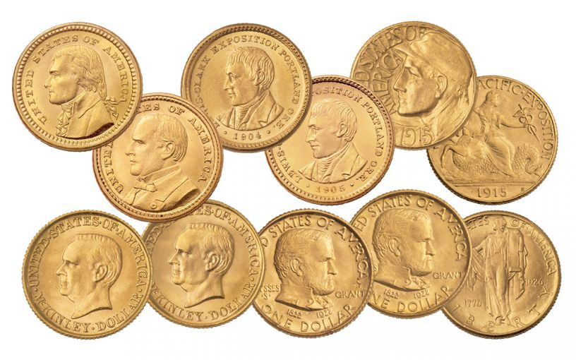 1903-1926 U.S. Gold Commemorative 11-Pc Set PCGS MS64-MS66
