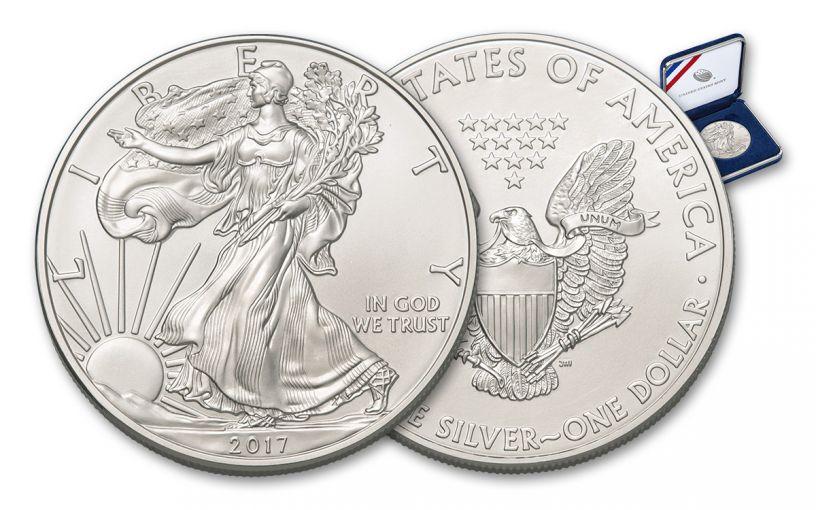2017 1 Dollar 1-oz Silver Eagle BU in U.S. Mint Presentation Box