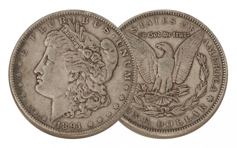 1891-P Morgan Silver Dollar VF