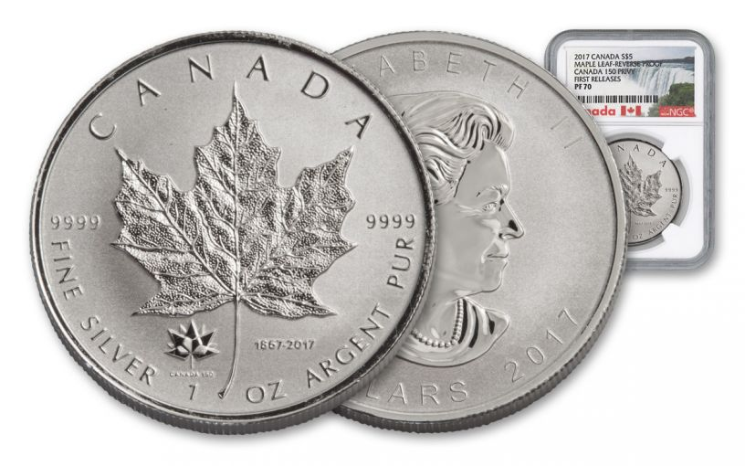 2017 Canada 1 Ounce $5 Silver Maple Leaf 150th Reverse Proof NGC PF70 First Releases