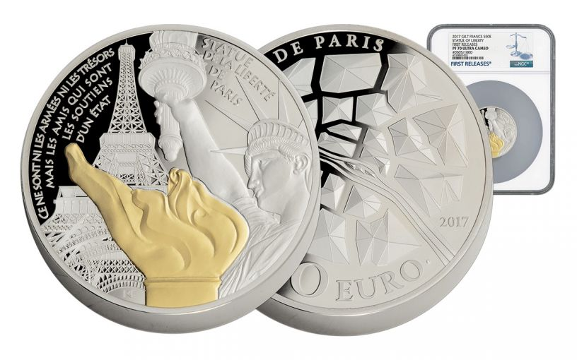2017 France 5-oz Silver Statue of Liberty NGC PF70UCAM