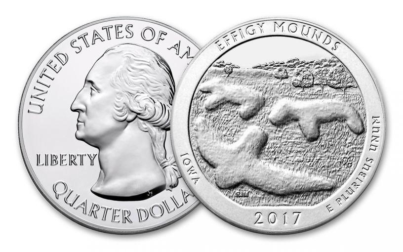 2017 25 Cent 5-oz Silver America the Beautiful Effigy Mounds Gem BU