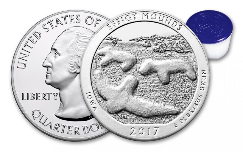 2017 25 Cent 5-oz Silver America the Beautiful Effigy Mounds Gem BU 10-Coin Roll