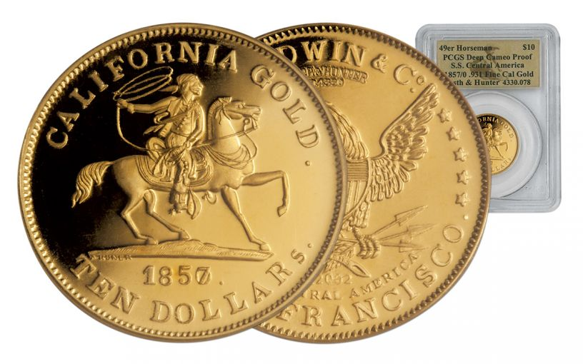 1857/0 10 Dollar Gold 49er Horseman PCGS Deep Cameo Proof SS Central America