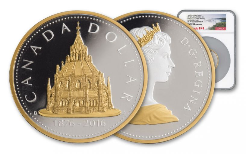 2016 Canada 1 Dollar 2-oz Silver Parliament NGC PF70UCAM Early Releases