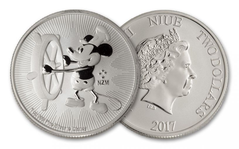 2017 Niue 2 Dollar 1-oz Silver Mickey Steamboat Willie BU