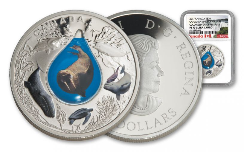 2017 Canada 1-Ounce $20 Silver Underwater Life - Colorized 3D Water Droplet NGC PF70UC Early Releases