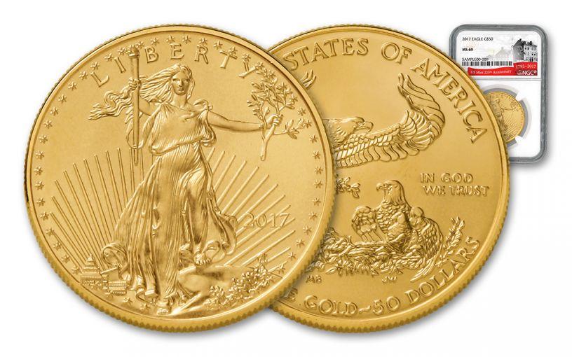 2017 $50 1-oz Gold Eagle NGC MS69 225th Ann