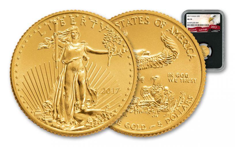 2017 $5 1/10-oz Gold Eagle NGC MS70 Eagle Black