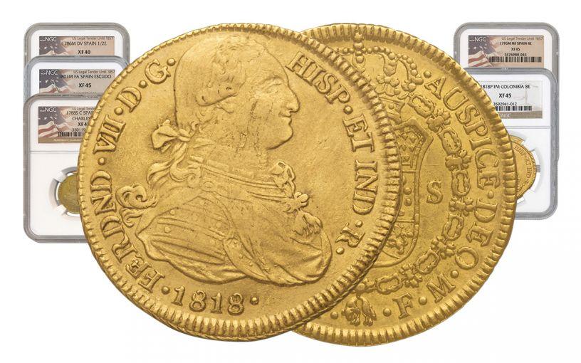 1742-1833 Spain Gold Escudo NGC XF 5-Pc Set
