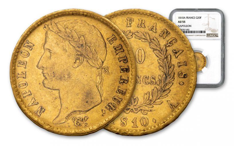 1810-A France 20 Francs Gold Napoleon NGC AU55