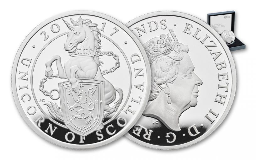 2017 Great Britain 2 Pound 1-oz Silver Queen's Beasts Unicorn Proof