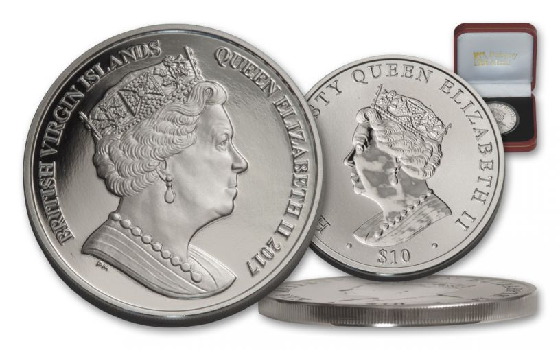 BVI 2017 $10 1-OZ SILVER QUEENS DOUBLE HEADED PF