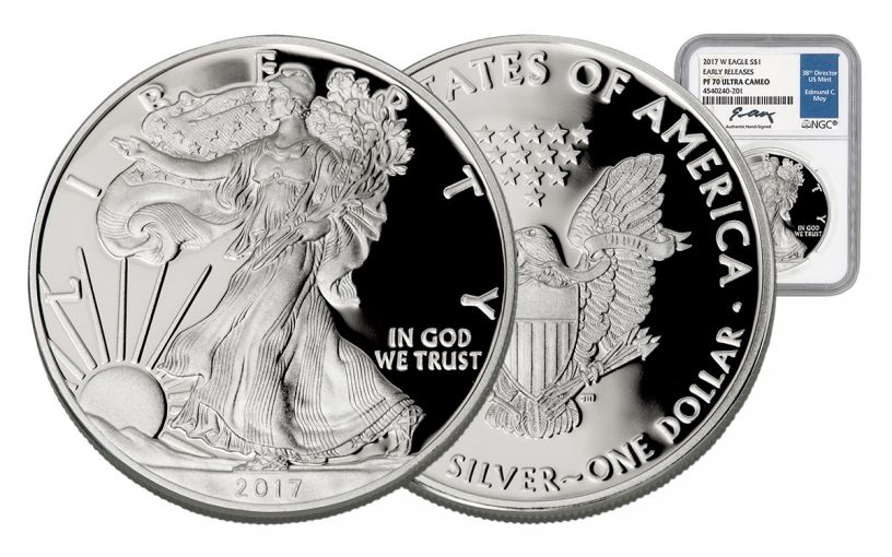 2017-W 1 Dollar 1-oz Silver Eagle Proof NGC PF70UCAM Moy Signed