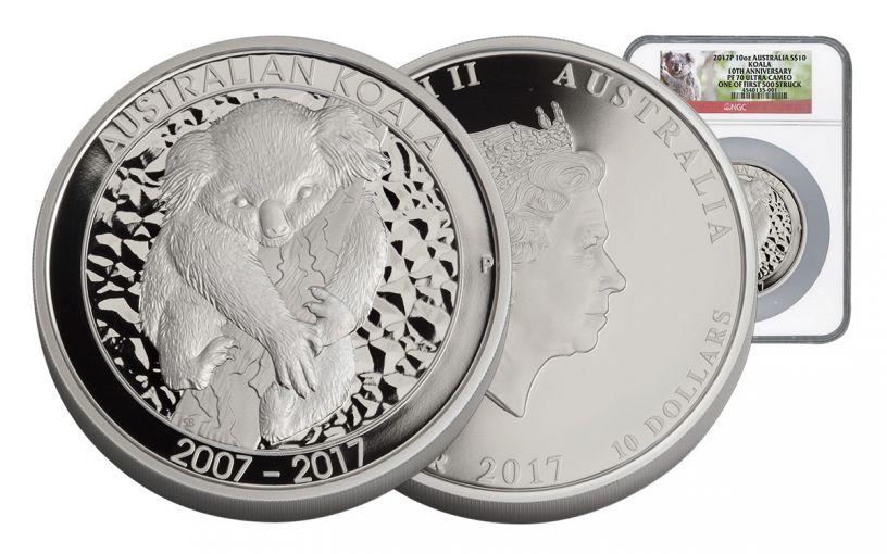 2017 Australia 10 Dollar 10-oz Silver Koala 10th Anniversary NGC PF70UCAM First Struck