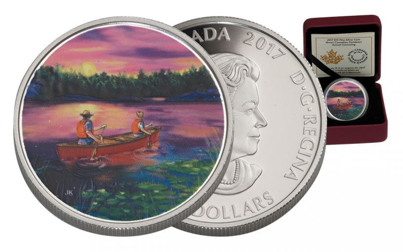 CAN 2017 $15 SILVER SUNSET CANOEING PROOF
