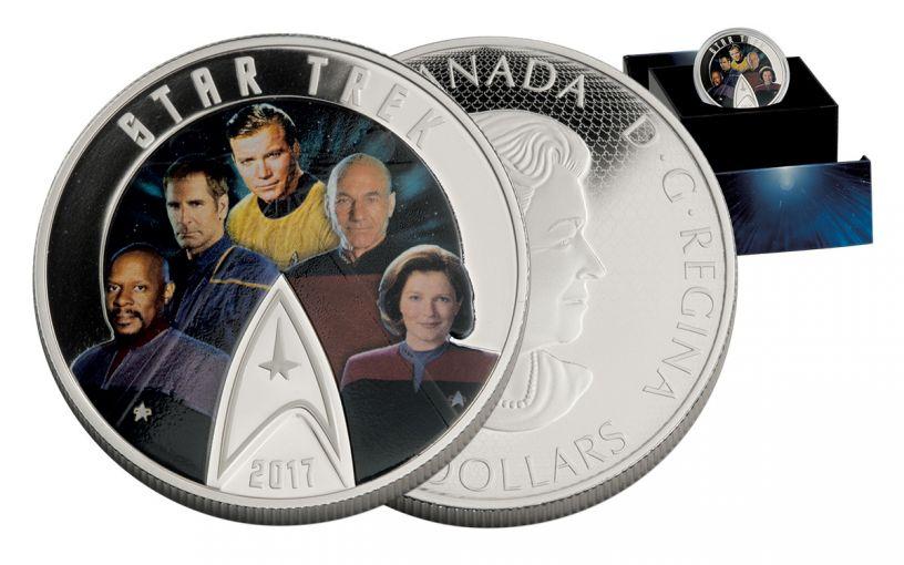 2017 Canada 30 Dollar Silver Star Trek 5 Captains Proof
