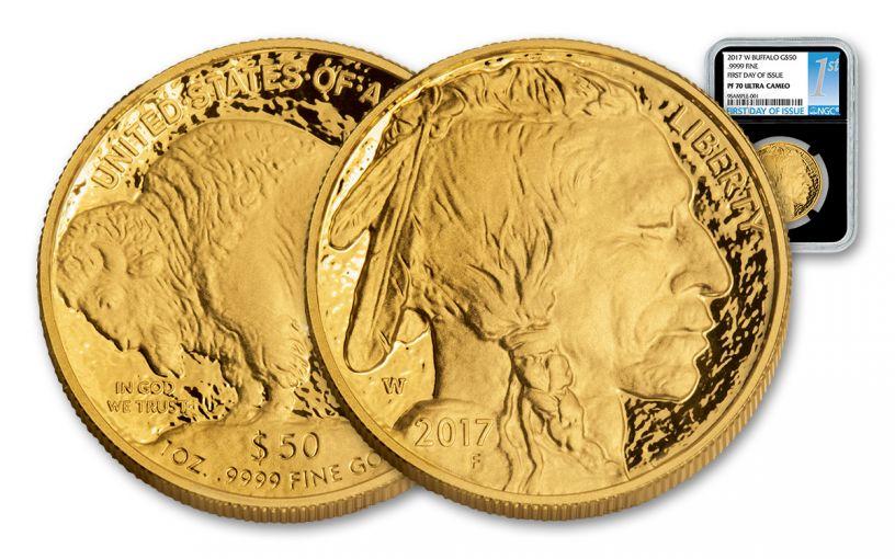 2017-W 50 Dollar 1-oz Gold Buffalo Proof NGC PF70UCAM FDI - Black