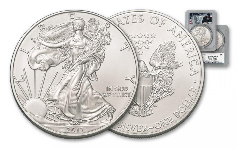 2017 $1 1OZ SILVER EAGLE PCGS MS70 FS LIB COIN ACT