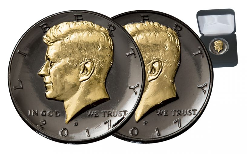 2017-P/D Kennedy Half Dollar Black Ruthenium and 24K Gold w/box