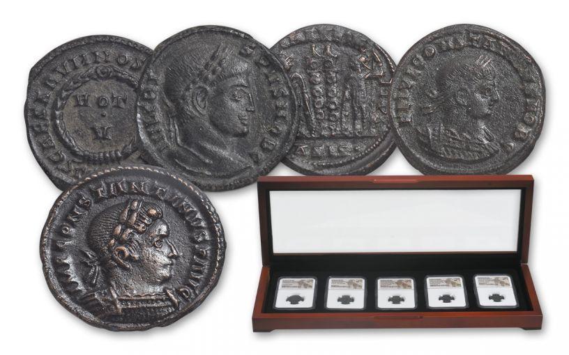 Ancient Roman 5pc Bronze Constantine ! & Sons NGC X