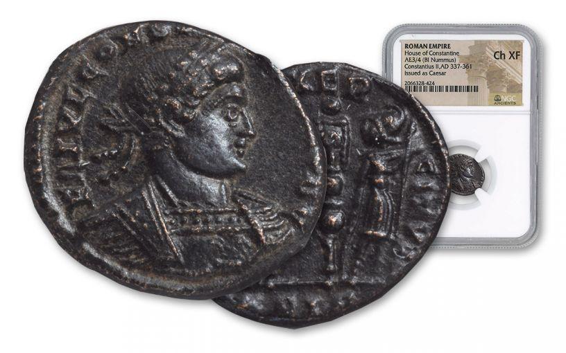Ancient Roman Bronze 5pc Constantine I & Sons NGC CHXF