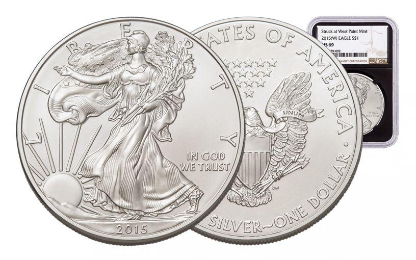 2015-W 1 Dollar 1-oz Silver Eagle NGC MS69 Brown Label - Black