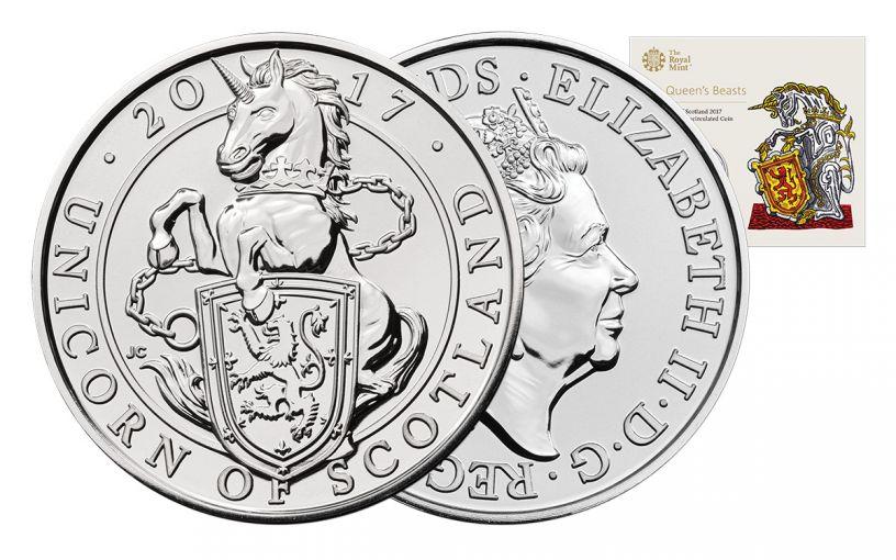 2017 United Kingdom 5 Pound Cupro Queen's Beasts Unicorn Brilliant Uncirculated