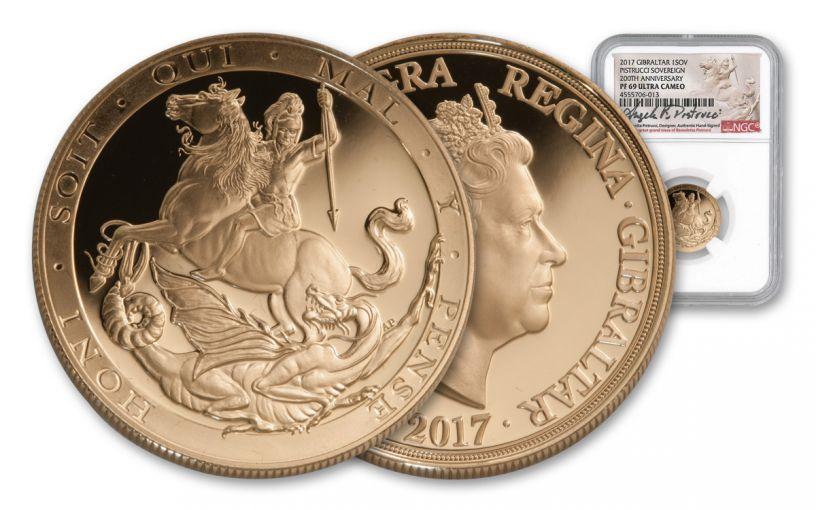 2017 Gibraltar Gold Sovereign NGC PF69UCAM Pistrucci