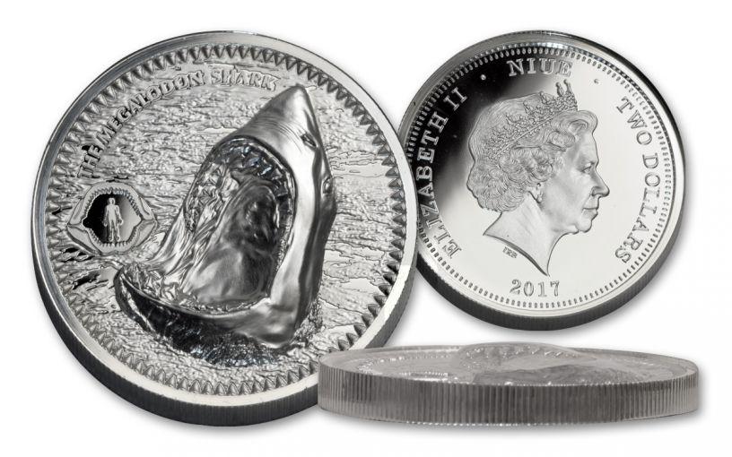 2017 Niue 2 Dollar 1-oz Silver Megalodon Proof