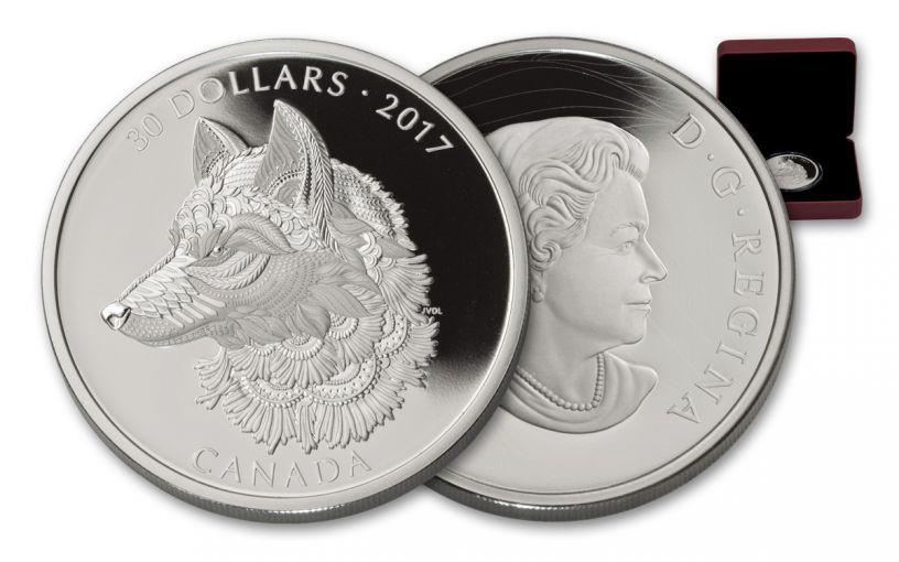 2017 Canada 30 Dollar 2-oz Silver The Great Grey Wolf Proof