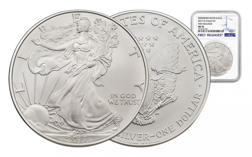 2017-W 1 Dollar 1-oz Burnished Silver Eagle NGC MS70 First Releases