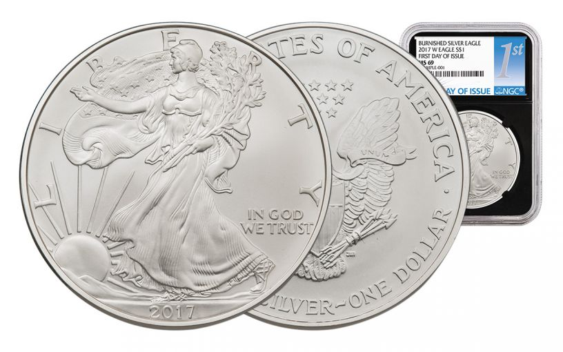 2017-W 1 Dollar 1-oz Burnished Silver Eagle NGC MS69 First Day Of Issue - Black