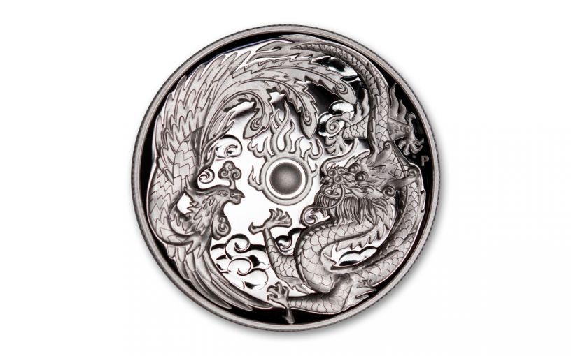 2017 Australia $1 1-oz Silver Dragon & Phoenix High Relief Proof