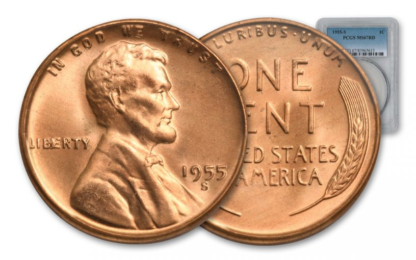 1955-S 1 Cent Lincoln Wheat NGC MS67 Red
