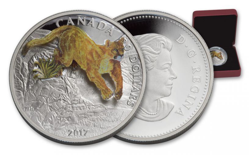 2017 Canada 20 Dollar 1-oz Silver 3D Leaping Cougar Proof