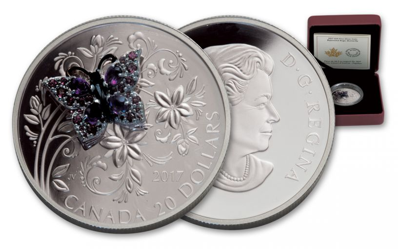 2017 Canada 20 Dollar 1-oz Silver Bejeweled Bugs Buffer Fly Proof