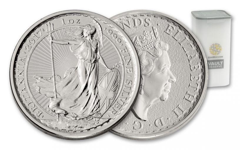 2017 Great Britain 2 Pound 1-oz Silver Britannia 25-Coin Roll Vault Reserve BU