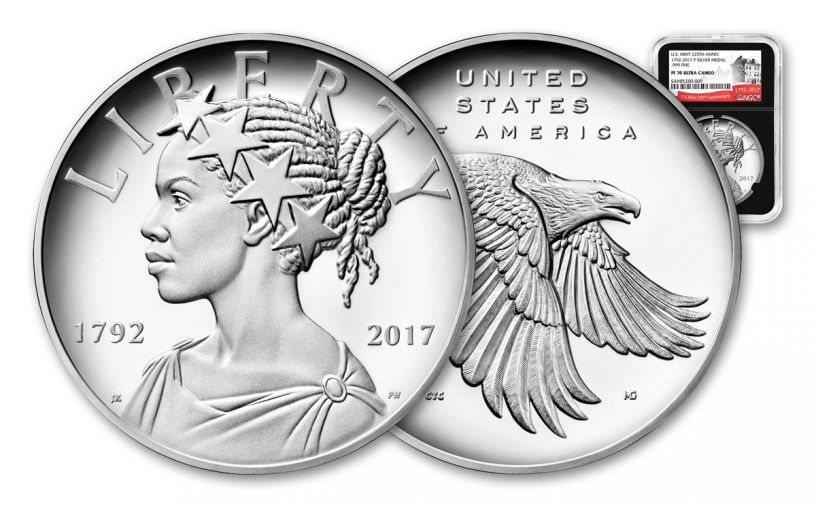 2017-P 1-oz Silver American Liberty Medal NGC PF70UCAM- 225th- Black