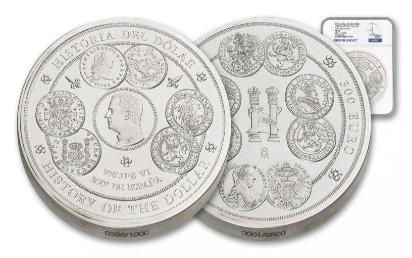 2017 Spain Kilo Silver History of the Dollar NGC PF69UC
