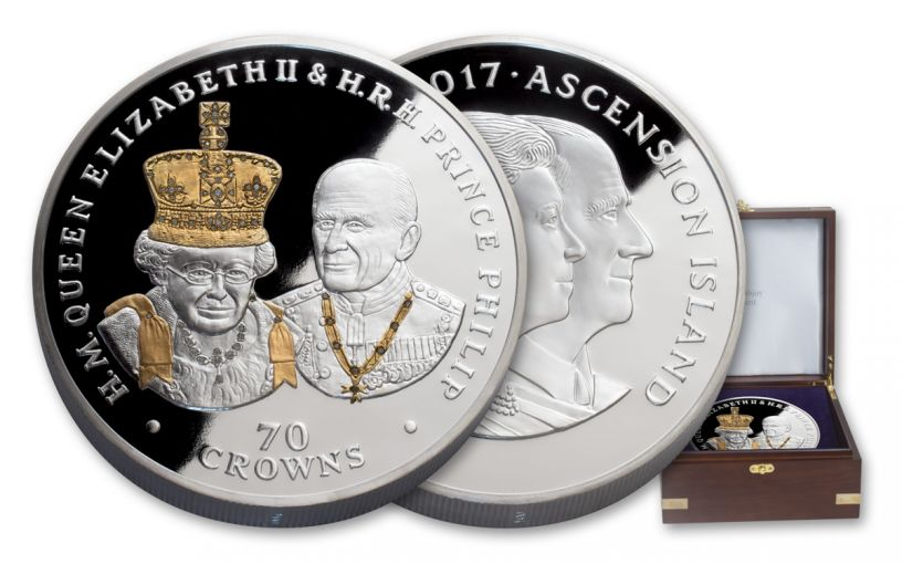 2017 ASC 70 Crowns 70-Ounce Silver 70th Wedding Anniversary Proof